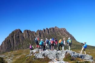 タスマニア島を代表する象徴的な山・クレイドルマウンテン(1,545m)周辺でハイキング