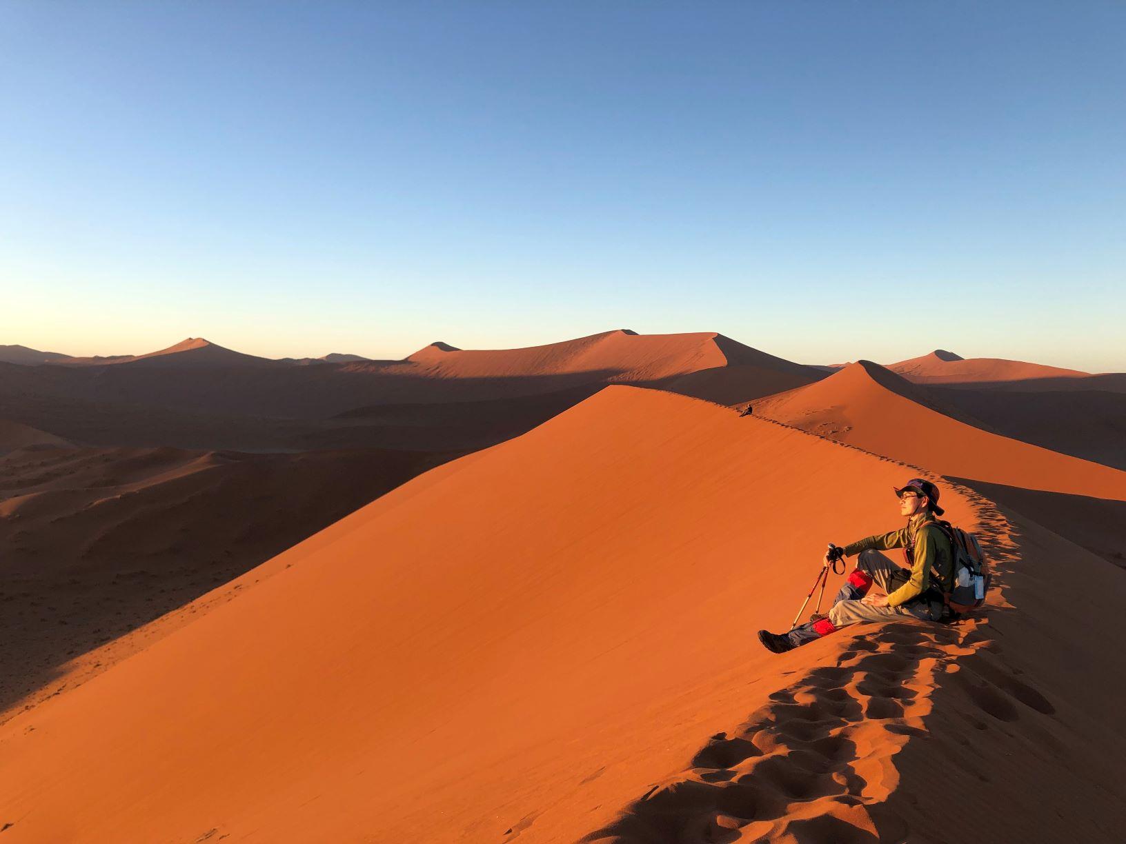 アプリコット色に染まるナミブ砂漠