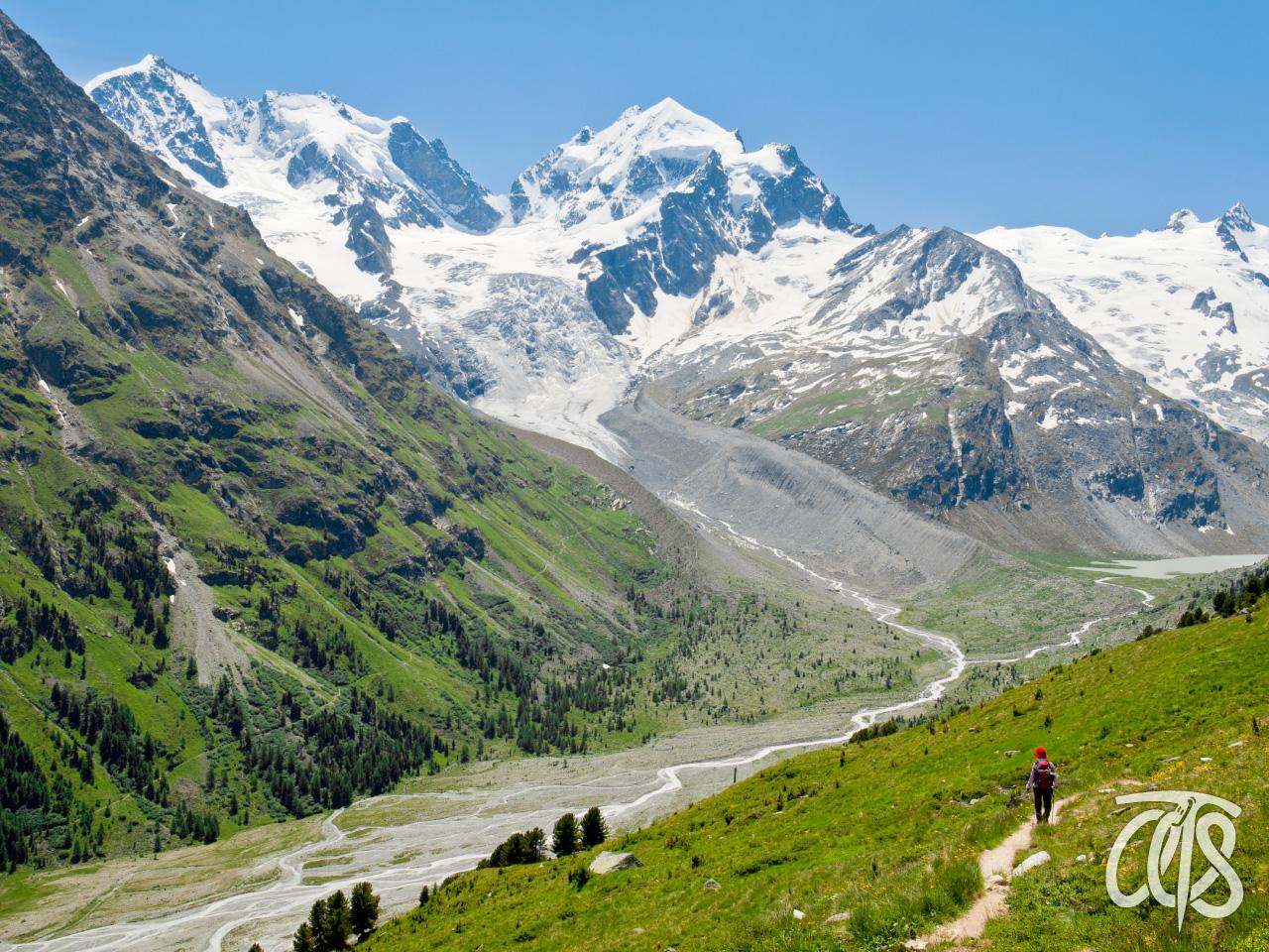 花咲く山麓をハイキング