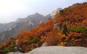 紅葉色に染まる北漢山の稜線
