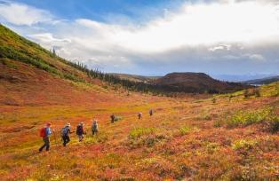 絵の具をこぼしたような赤と黄色の鮮やかな大地をハイキング