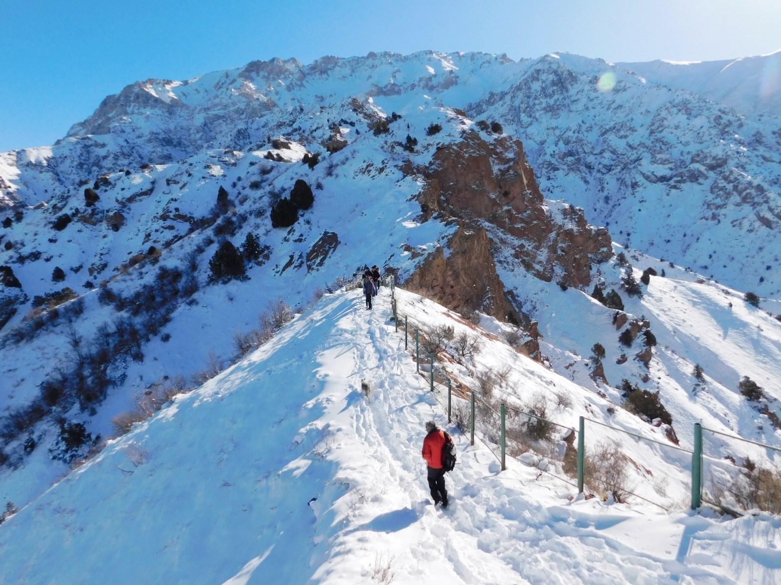 背後に迫るチャトカル山と西天山のパノラマ(11月)