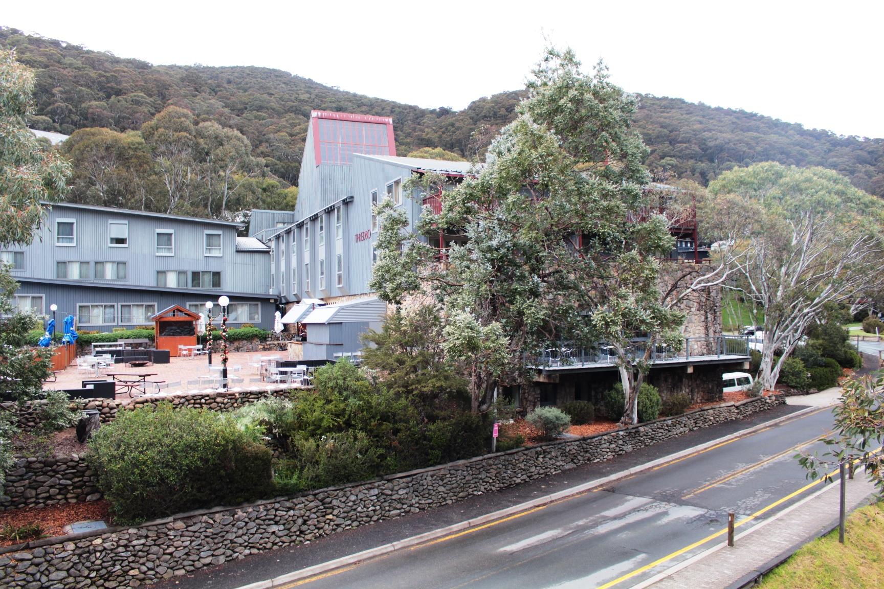 スレドボ・アルパインホテルの周りにはユーカリの林が広がる