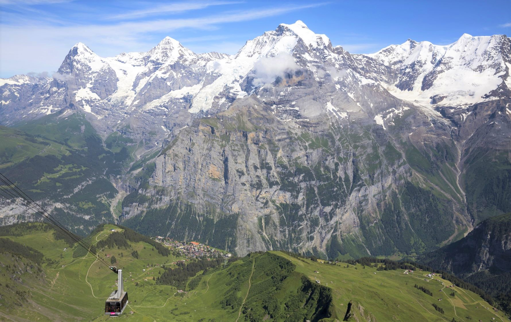 縦走スタート地点ビルク(2,677m)からベルナーオーバーラント三山を望む(5日目)