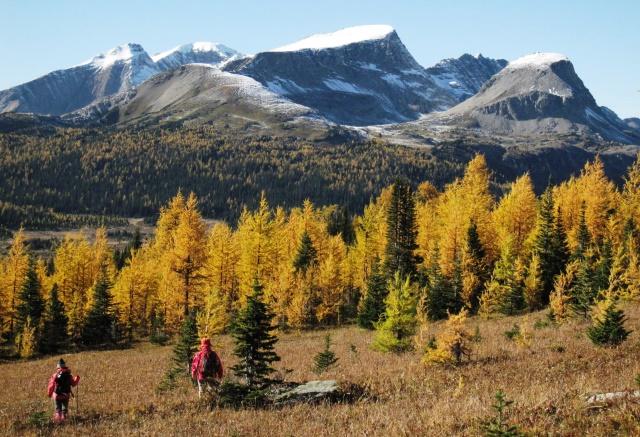 アシニボイン山麓で秋の風景を楽しむ