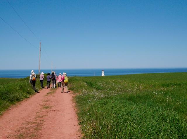 赤土の道を歩き、海岸線の灯台へ