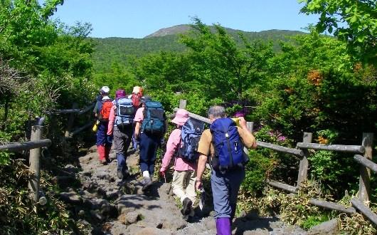 樹林帯を抜けると漢拏山の頂上が見えてきます