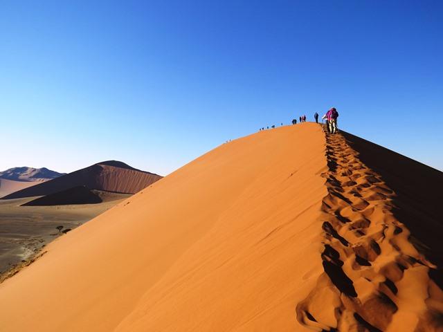 ナミブ砂漠で一番人気の砂丘DUNE45の顕著な稜線を登る(4日目)
