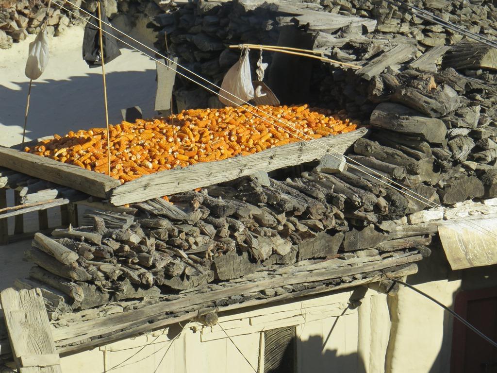 マルファ村、平屋根の住居が特徴的