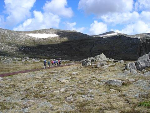 登山口(1,930m)からMt.コジオスコ(2,228m)の山頂まで緩やかなトレイルを登ります