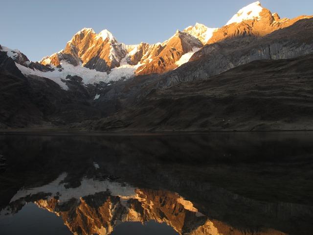 ミトコーチャ湖畔のキャンプサイト付近より望むヒリシャンカ(左:6,094m)とロンドイ(右:5870m)(9・10日目)