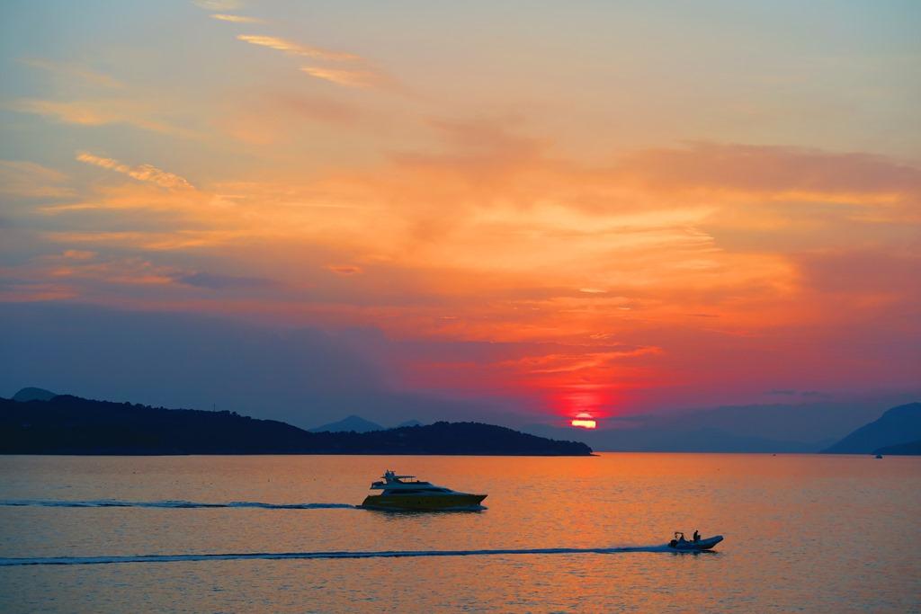 アドリア海に沈みいく夕陽