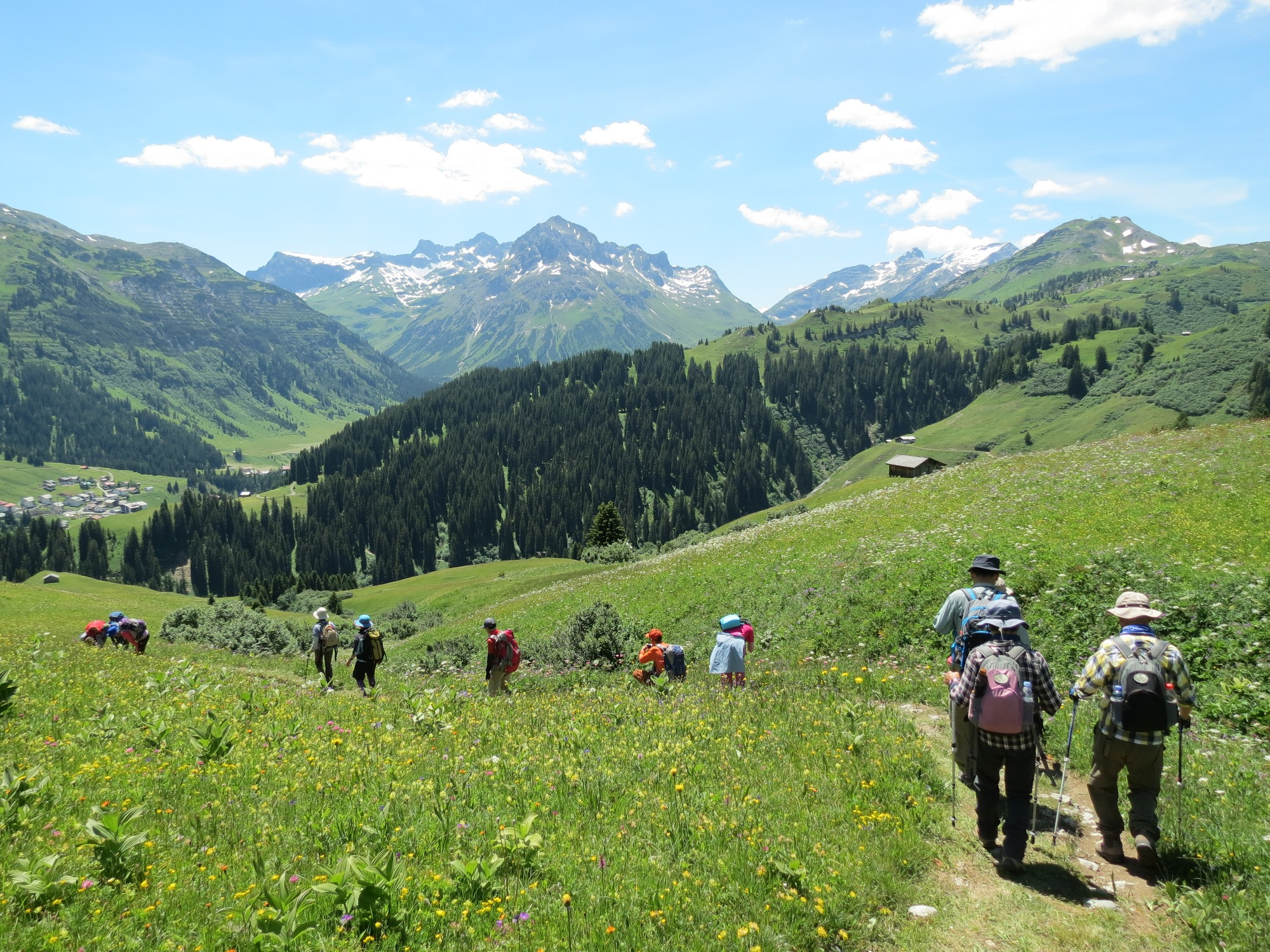 花畑と草原を縫うようにはしるハイキングコースを歩きレッヒの村へ(2日目)
