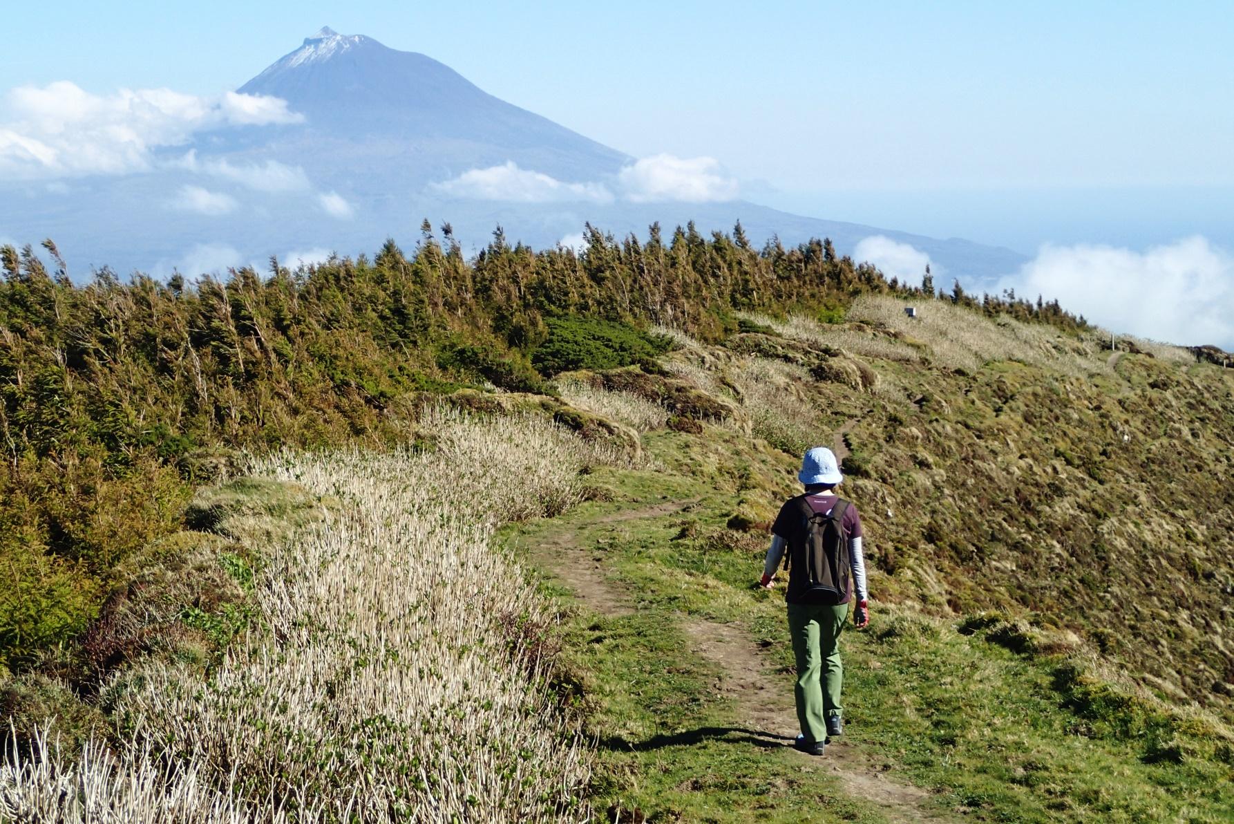 ファイアル島のハイキング、正面にポルトガル最高峰のピコ山を望む(4日目)