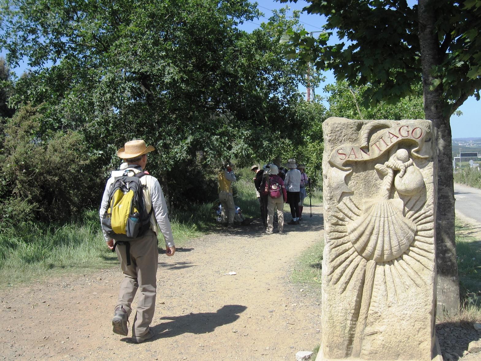 巡礼のシンボルのホタテ貝を目印に歩く