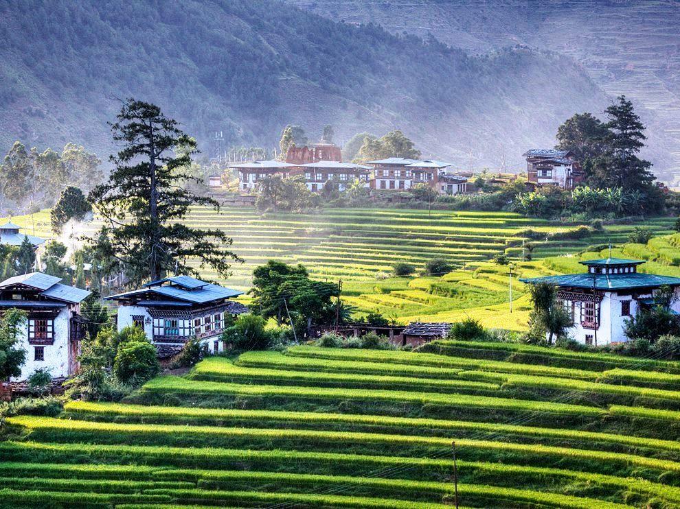 美しい田園風景が広がるブムタン地方
