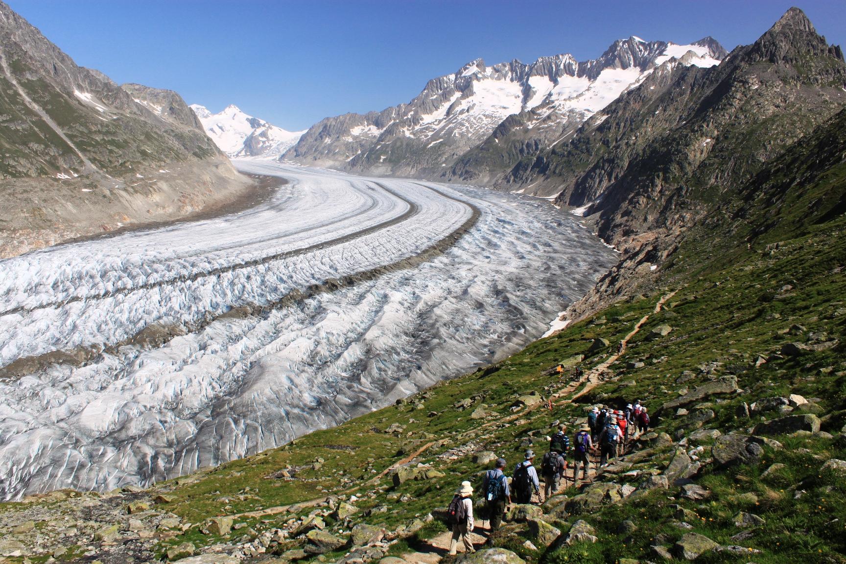 雄大なアレッチ氷河を眺めながらハイキング(7日目)