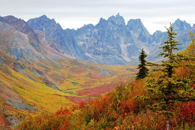 尖峰群とツンドラの美しい景観