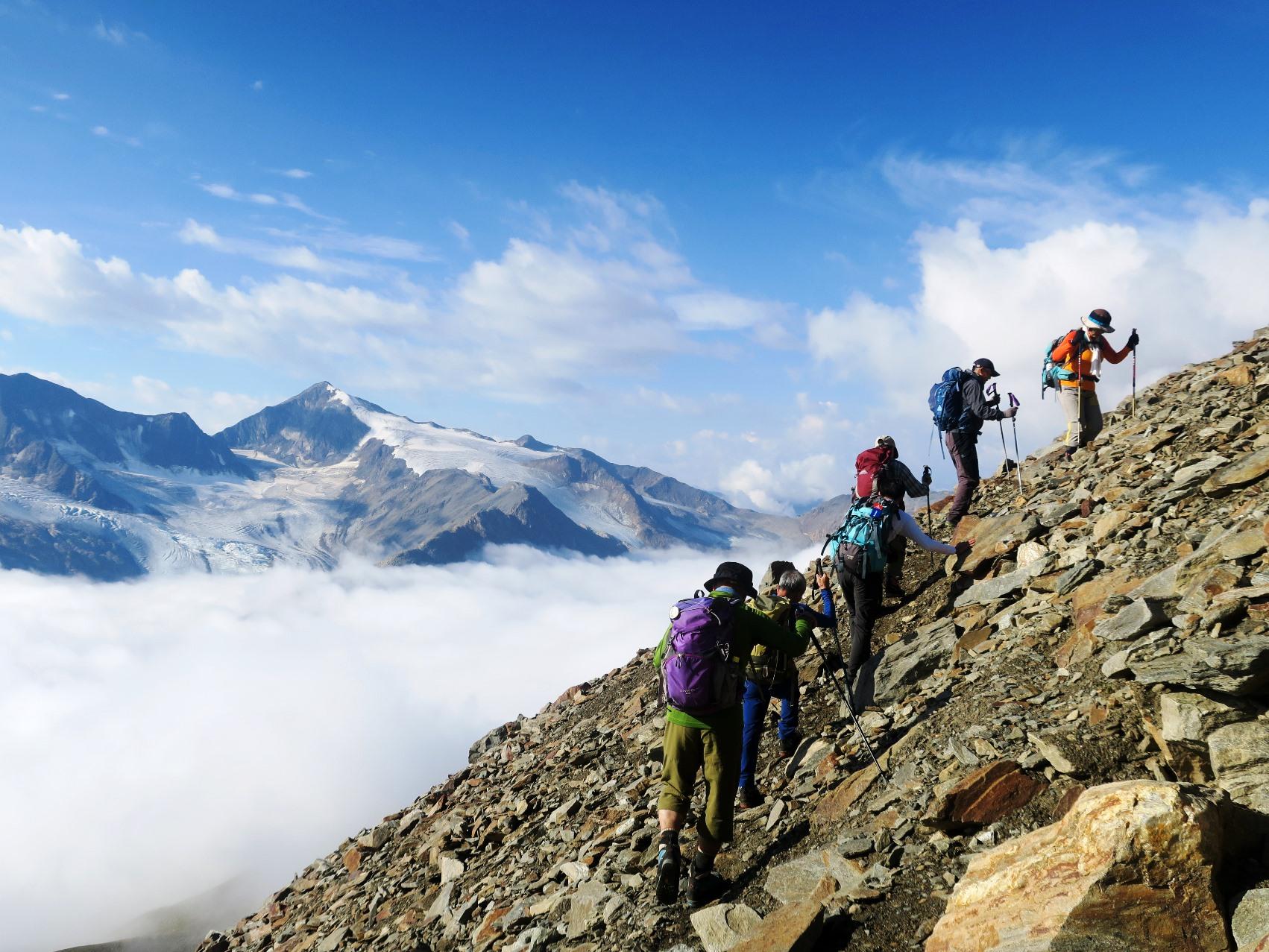登りごたえのあるクロイツシュピッツェ(3,455m)