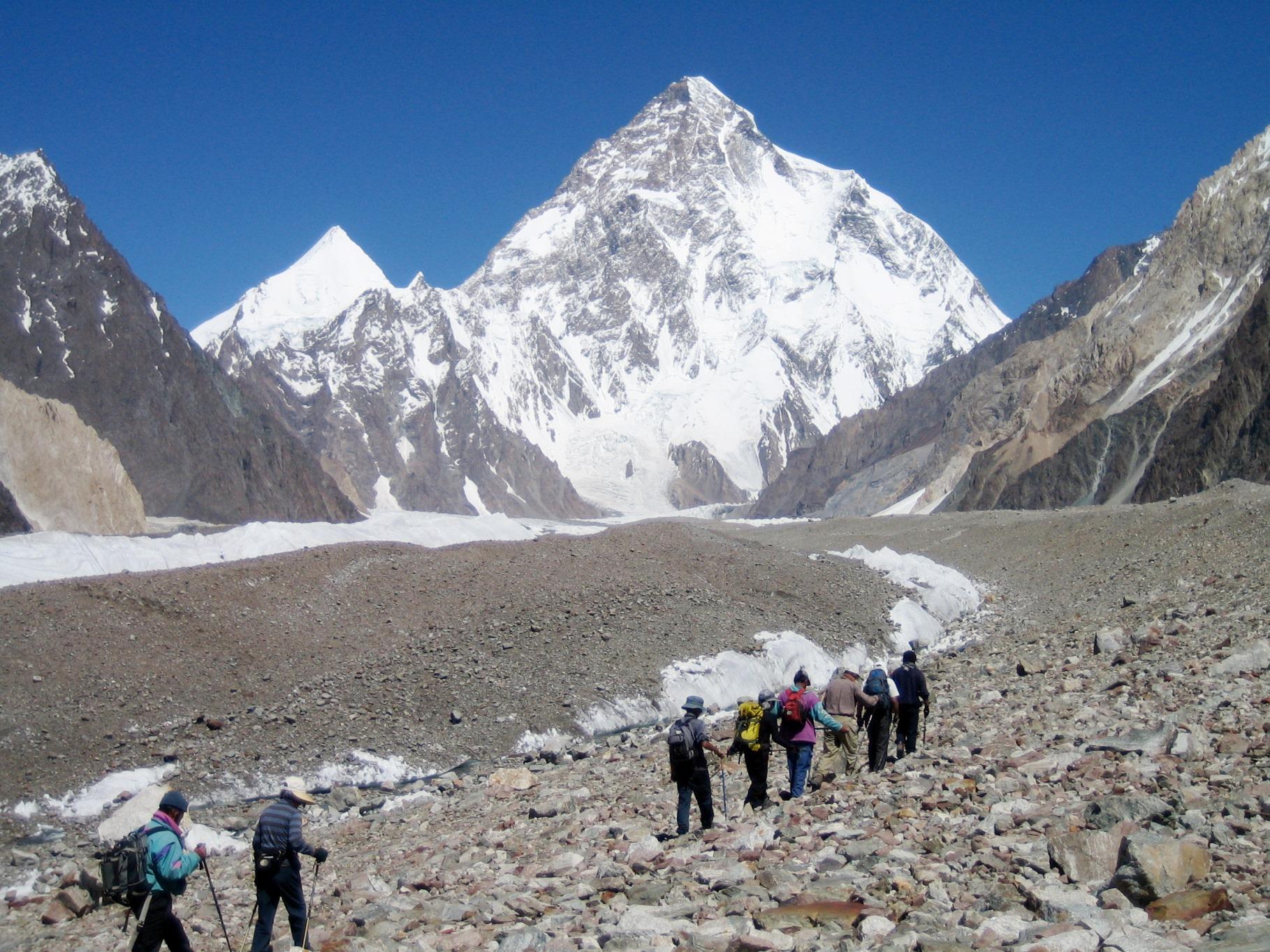 コンコルディア付近から世界第2の高峰K2(8,611m)を仰ぎ見る