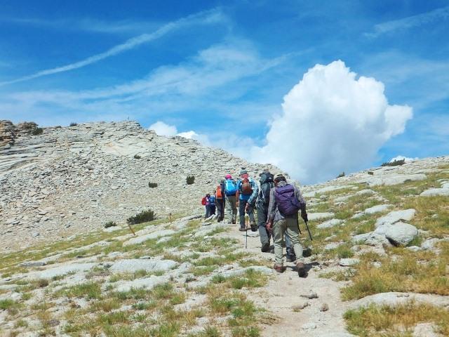 左手前方のガレ場を越えればいよいよMt.ホフマン頂上(3,307m)に到達。頂上からは雄大な景色が広がる