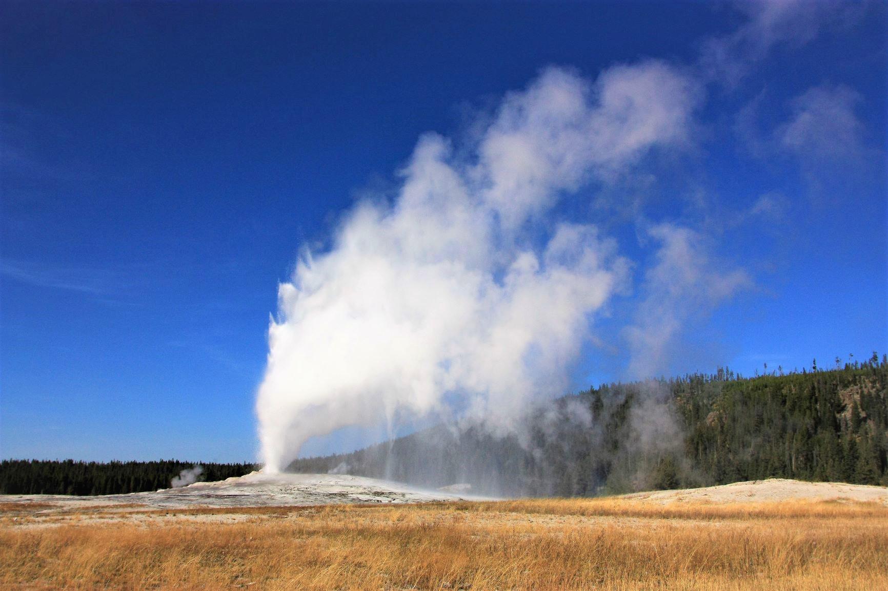 イエローストーンには多くの間欠泉があり、地球の息吹を感じる