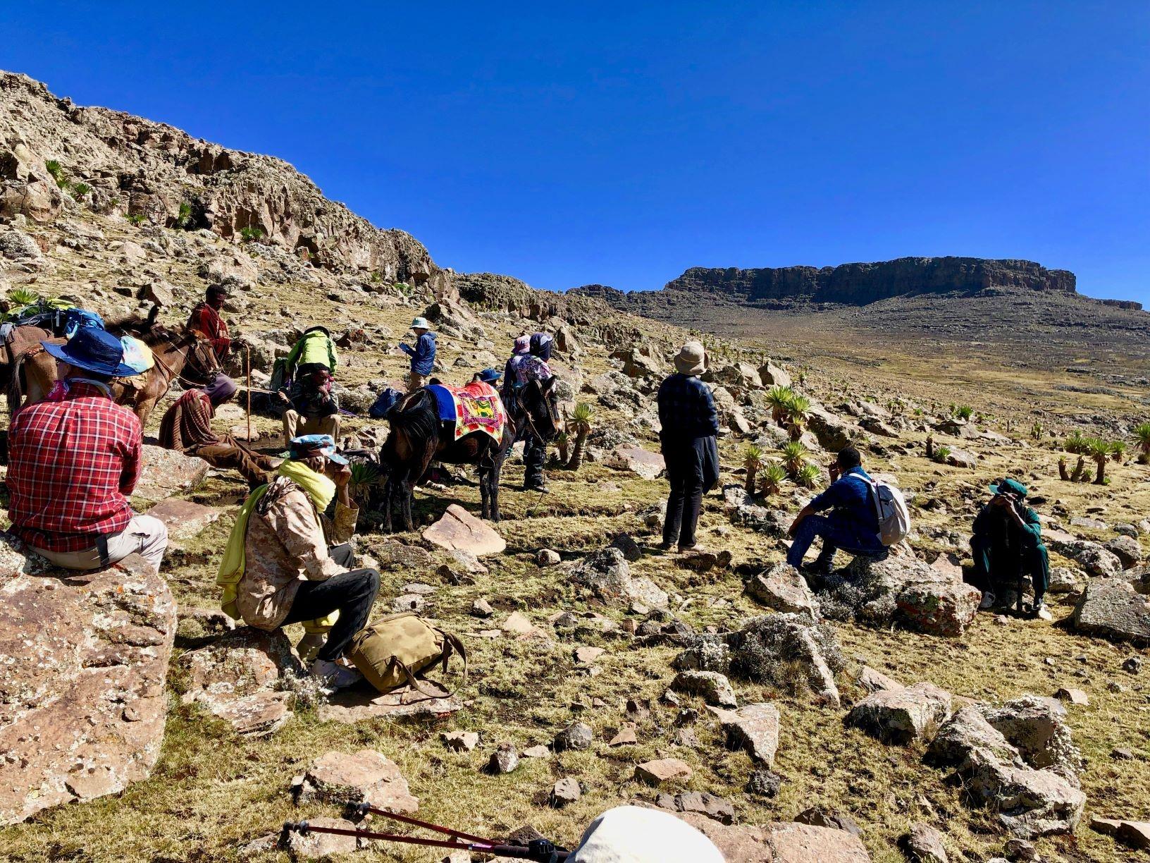 デジェン峠(4,260m)を越え頂上岩壁を望む(5日目)