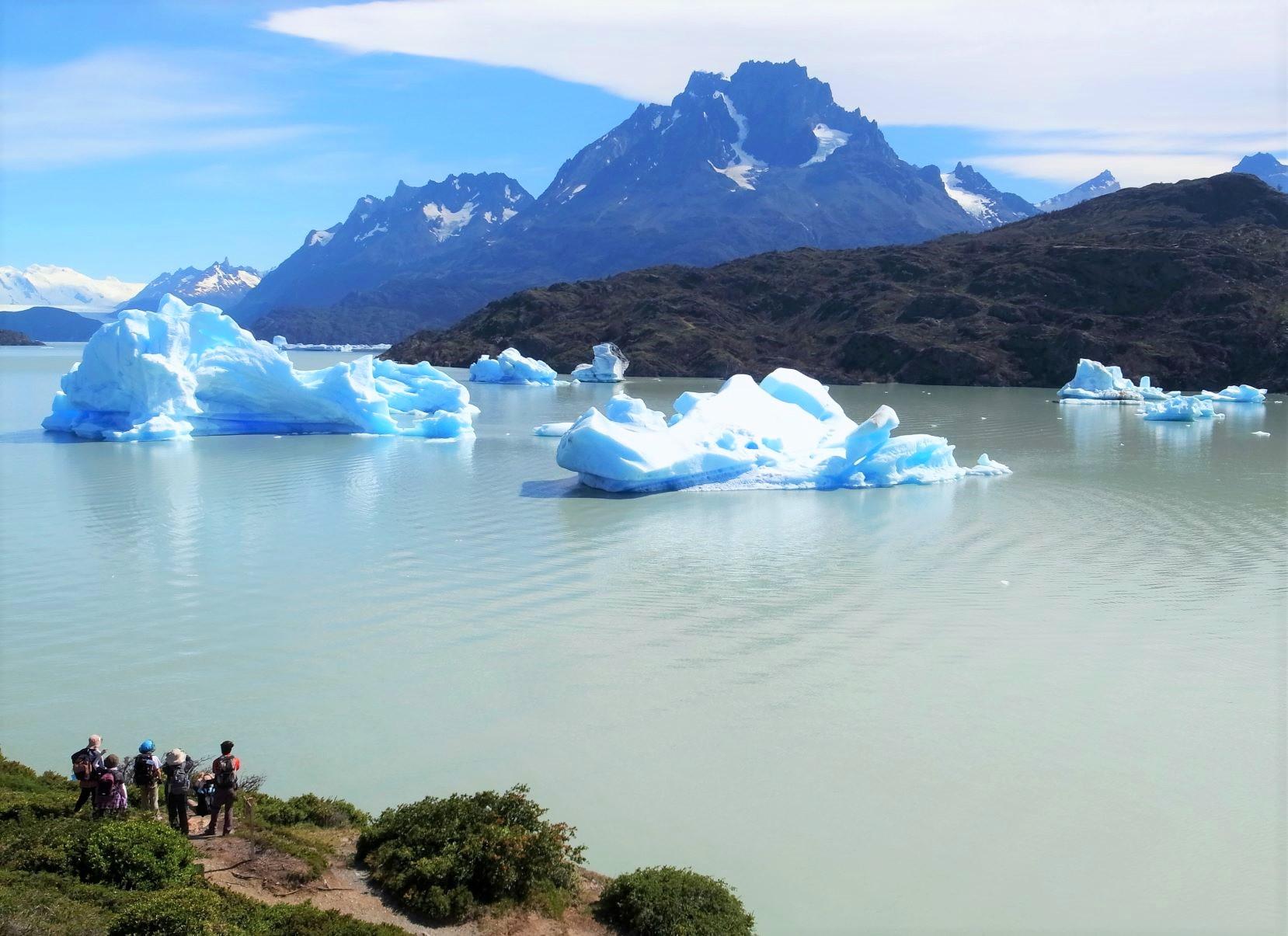 氷塊が浮かぶグレイ湖(4日目)