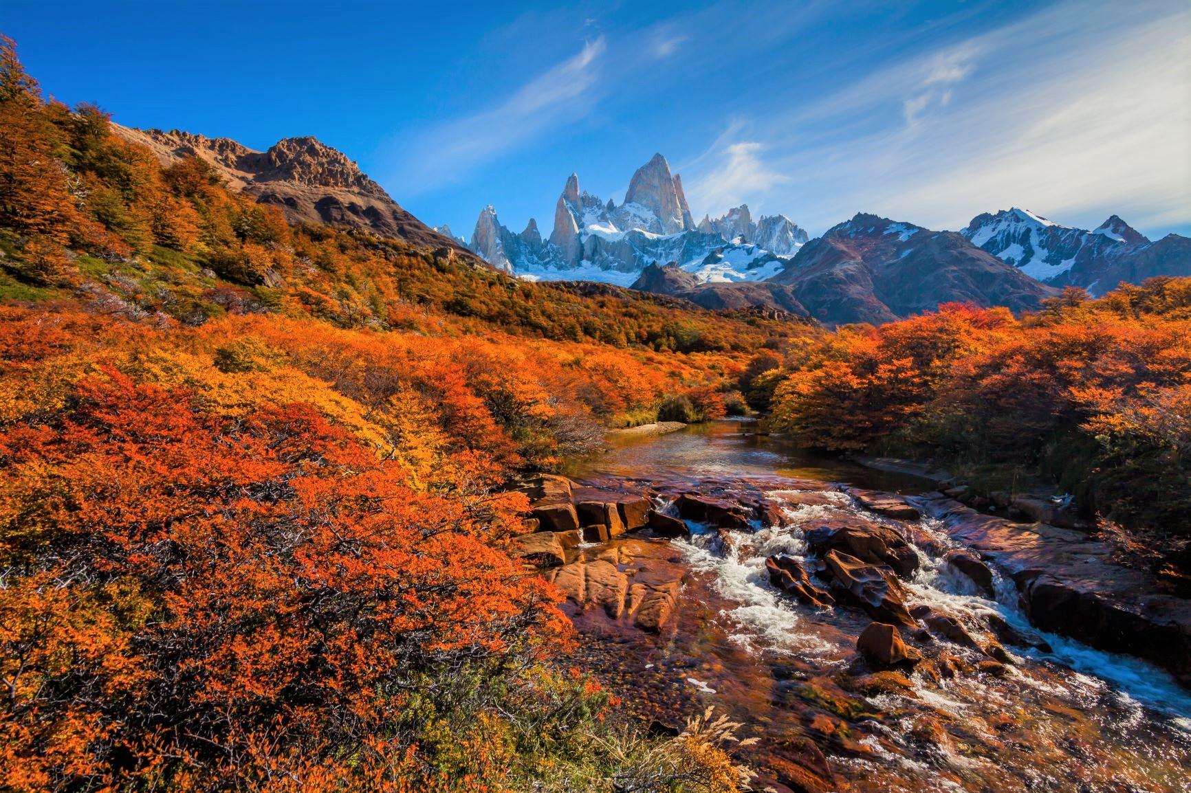 4月は秋色に染まる南極ブナとフィッツロイ山群のコントラストが美しい季節