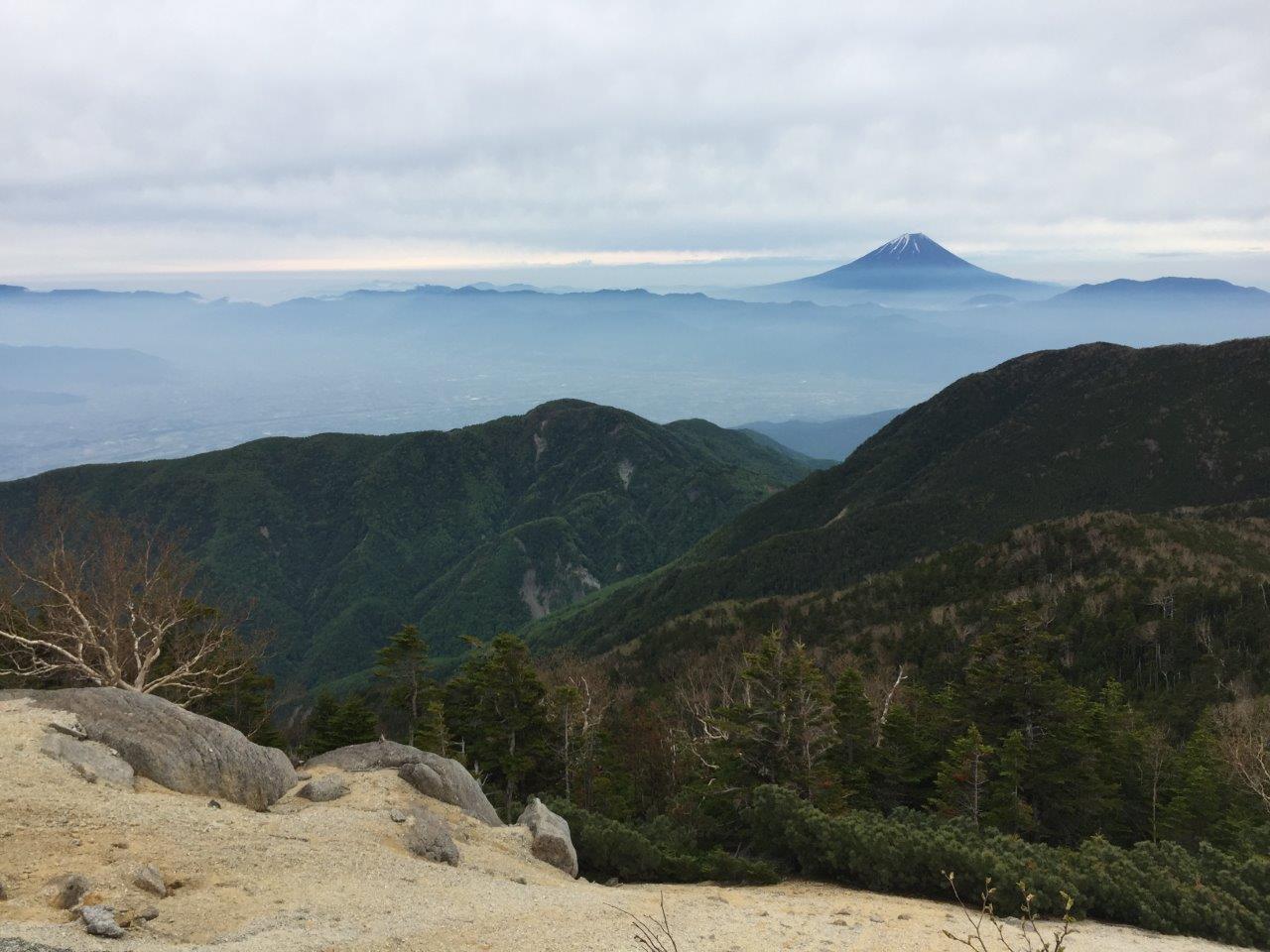 ▲縦走路から見る富士山