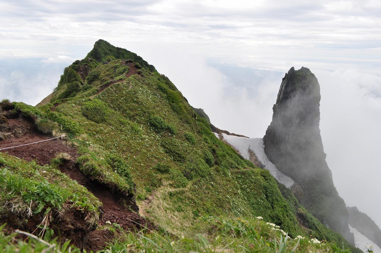 高山植物咲く利尻山頂上とローソク岩