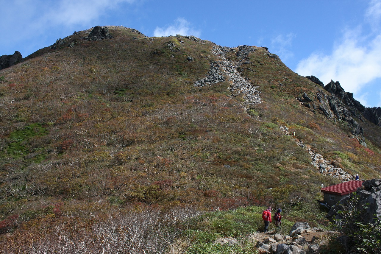 鳳鳴ヒュッテと岩木山頂上