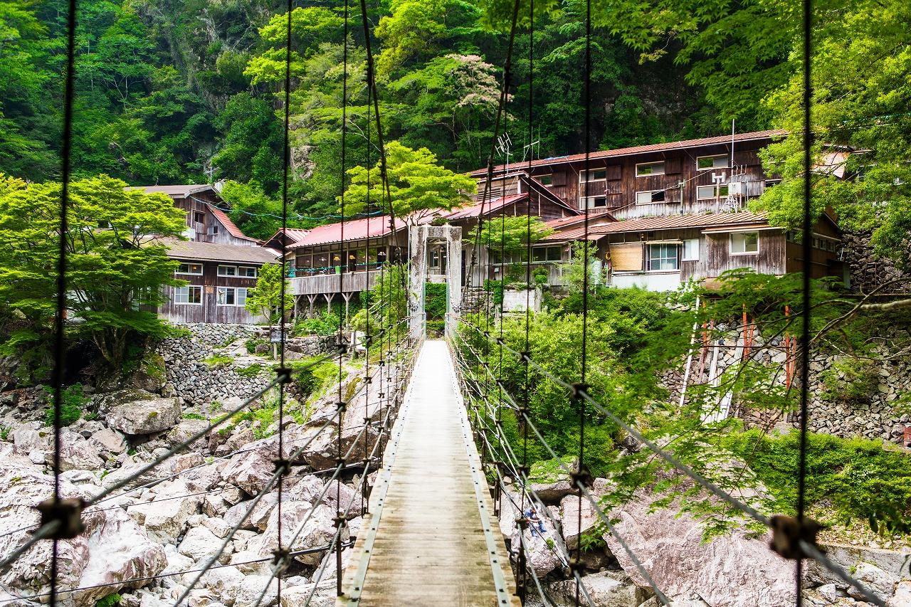 吊橋を渡って桃の木山の家へ