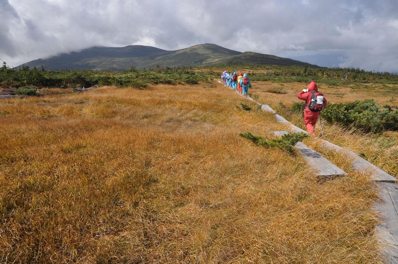 人形石を前方に草紅葉彩る弥兵衛平の木道を行く